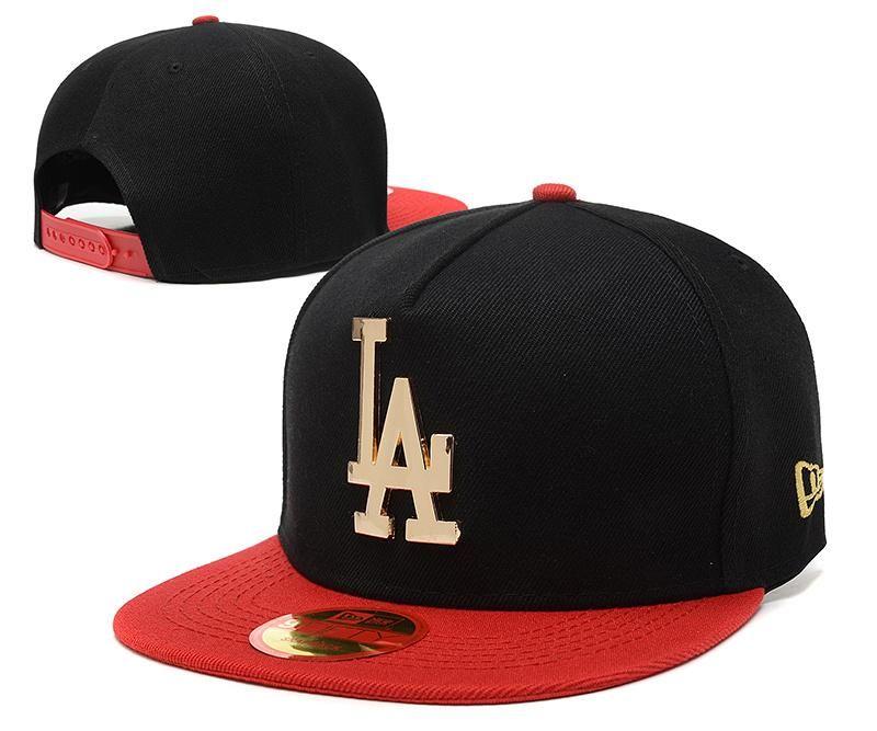 4698bd734ba Men s Los Angeles Dodgers New Era 9Fifty Gold Metal LA Logo A-Frame  Baseball Snapback Hat - Black   Red