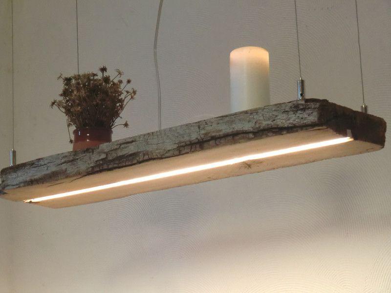 Hängelampe aus antiken Balken LEDs warmweiss | Holzleuchte