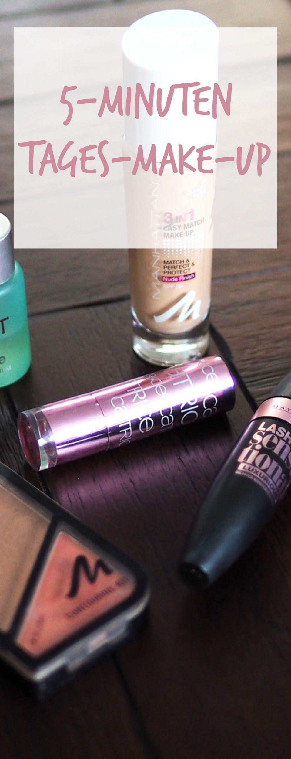 Tägliche Make-up-Routine für ein Tages-Make-up in nur 5 Minuten. 5 Minuten Make-up, Beauty, Beauty-Routine, Tages-Make-up,