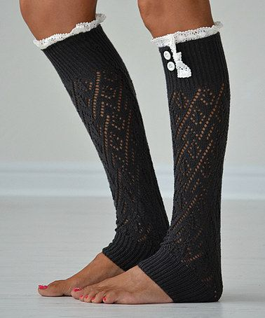 Another great find on #zulily! Dark Gray Lace-Trim Leg Warmers by PeekABootSocks #zulilyfinds