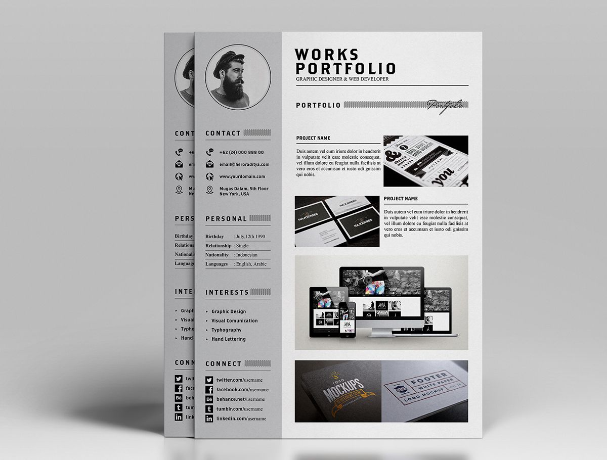 resume and portfolio template for all job seekers an exceptionally elegant cv to present yourself professional experience and work - Resume Portfolio Template