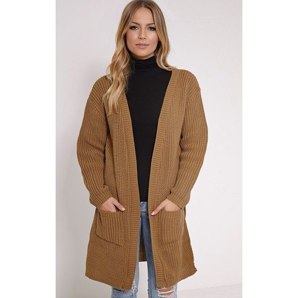 Tilly Camel Side Split Oversized Cardigan-L (65 SAR) ❤ liked on ...