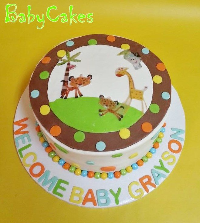 Fisher Price Safari Themed Baby Shower Cake To Match Invitations And Decorations.