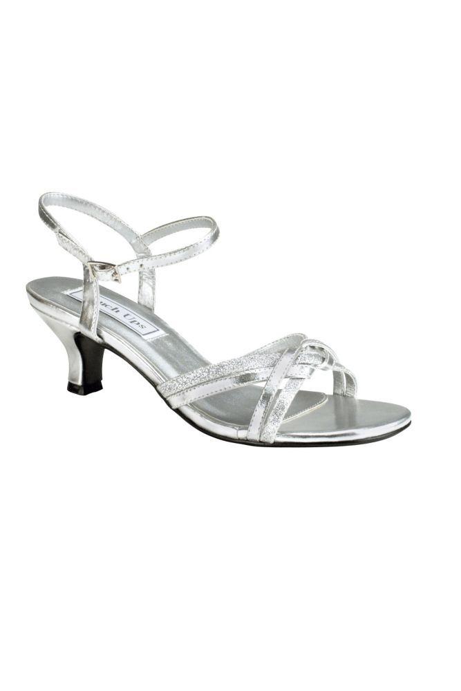 c89fe8f289e Melanie Metallic Low Heel Quarter Strap Sandals - Silver