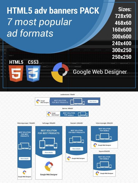 HTML5 adv banner template Banner template, Banners and Template - half sheet template