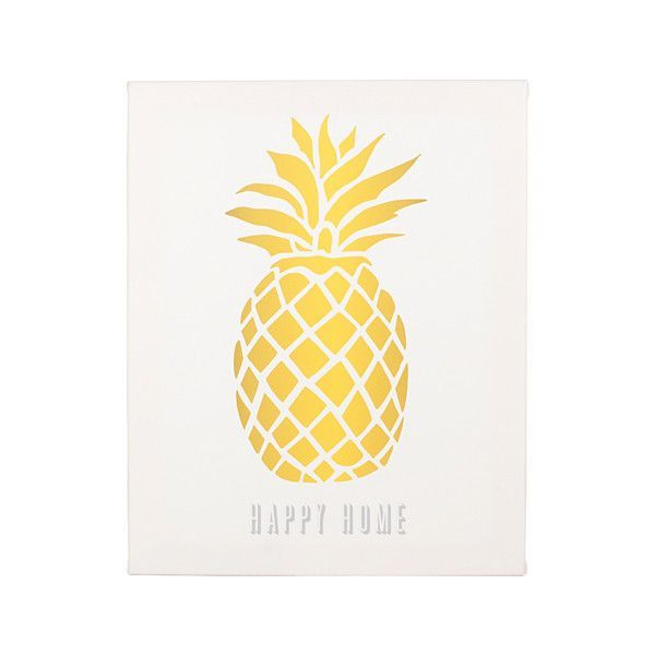Personalized Pineapple Canvas. The Personalized Pineapple Canvas gives a warm welcome to friends and family as they visit your home. With a fun pineapple design, this wall art is constructed of sturdy canvas and professionally stretched over a wooden frame. Incorporate the tropics to your home with a piece of pineapple art or give as the perfect gift.  Care Instructions: Dust with a soft, lint-free, dry cloth.  Engraving Options: May be printed with a custom line (max 20...