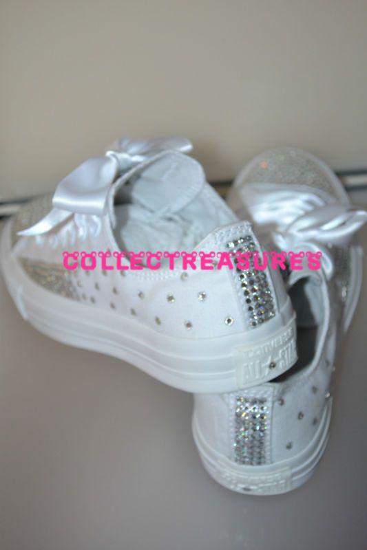 532c902111c8 Custom Crystal Diamante Bling Wedding White MONO Converse Size UK 3 4 5 6 7  8 9