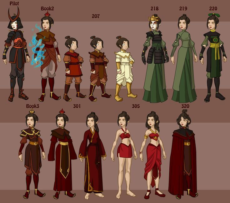 Photo of Avatar The Last Airbender wardrobe through the entire series.