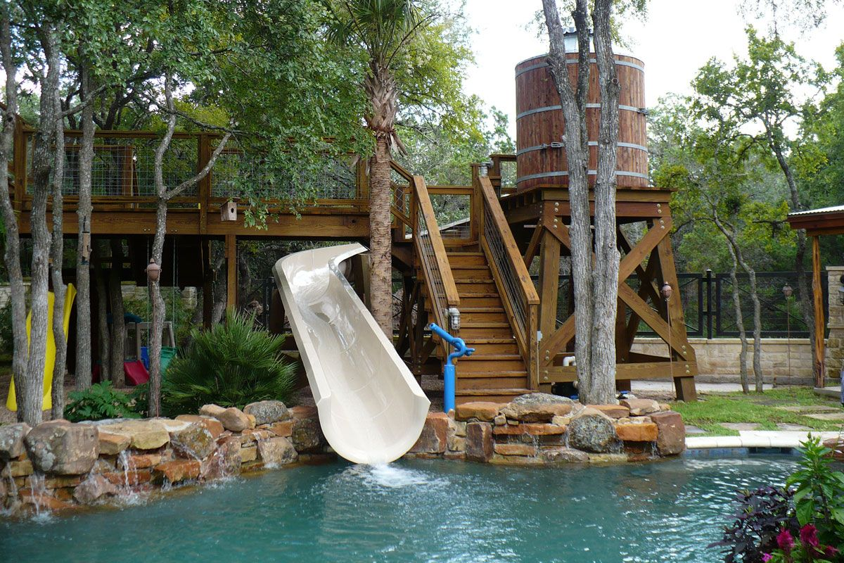 whoa play house fort deck pool water slide balcony pirate ship
