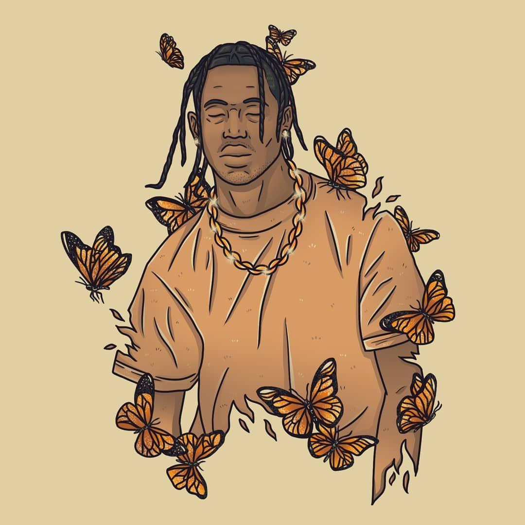 Travis Scott Butterfly Effect In 2020 Travis Scott Art Cartoon Art Prints Rapper Art
