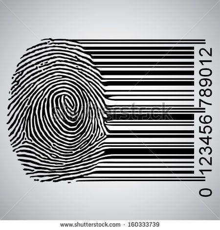 Fingerprint Becoming Barcode Vector Illustration - 160333739