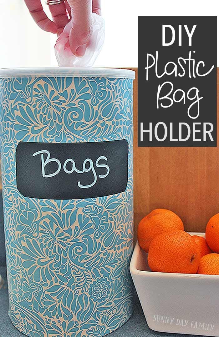 Easy Diy Plastic Bag Holder Upcycle A Container You Probably Have At Home Into Cute Love This Idea For Organizing All Those Grocery