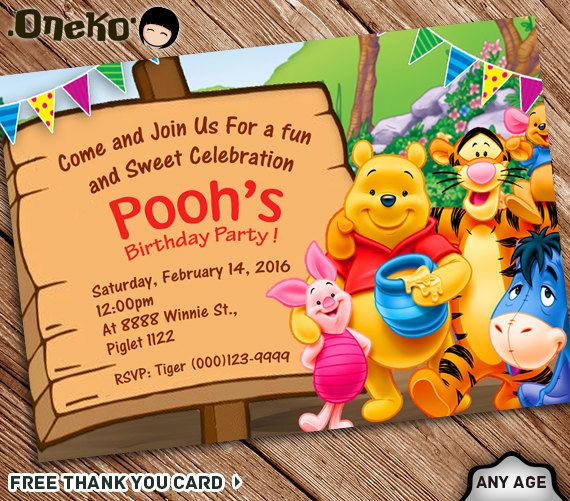 Sale 50 Off Winnie The Pooh Birthday Invitation Printable Etsy Printable Birthday Invitations Winnie The Pooh Birthday Pooh Invitation