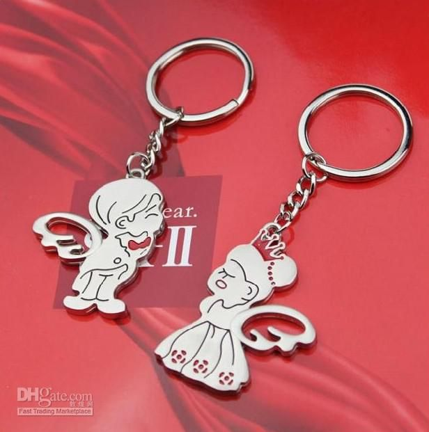 New 1 Pair Novelty Casual Couple Love Chain Cartoon Lovers Rings Valentines Gift Bags Handbag Decors Car Purse Pendant Bag Parts & Accessories