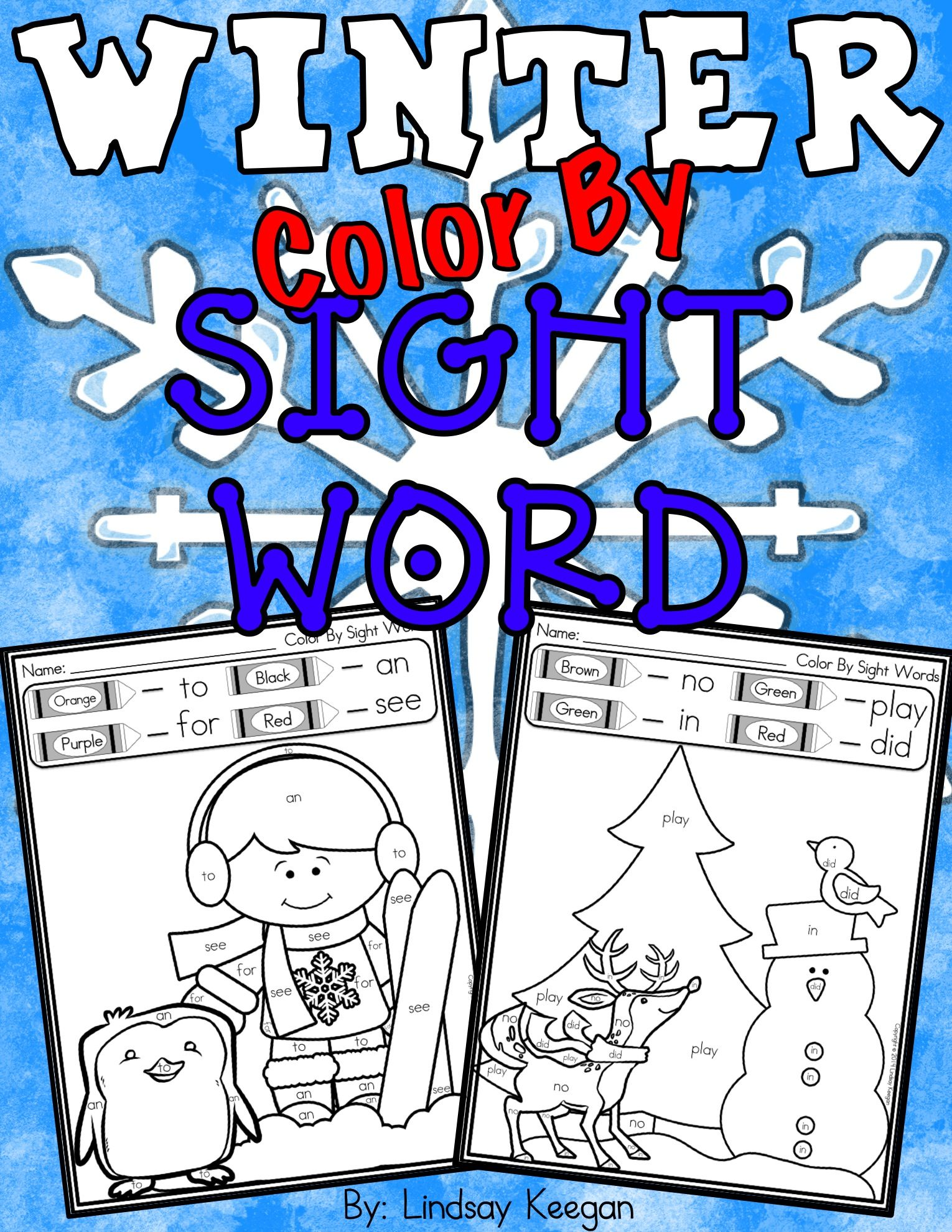 Color By Sight Word Winter Worksheets