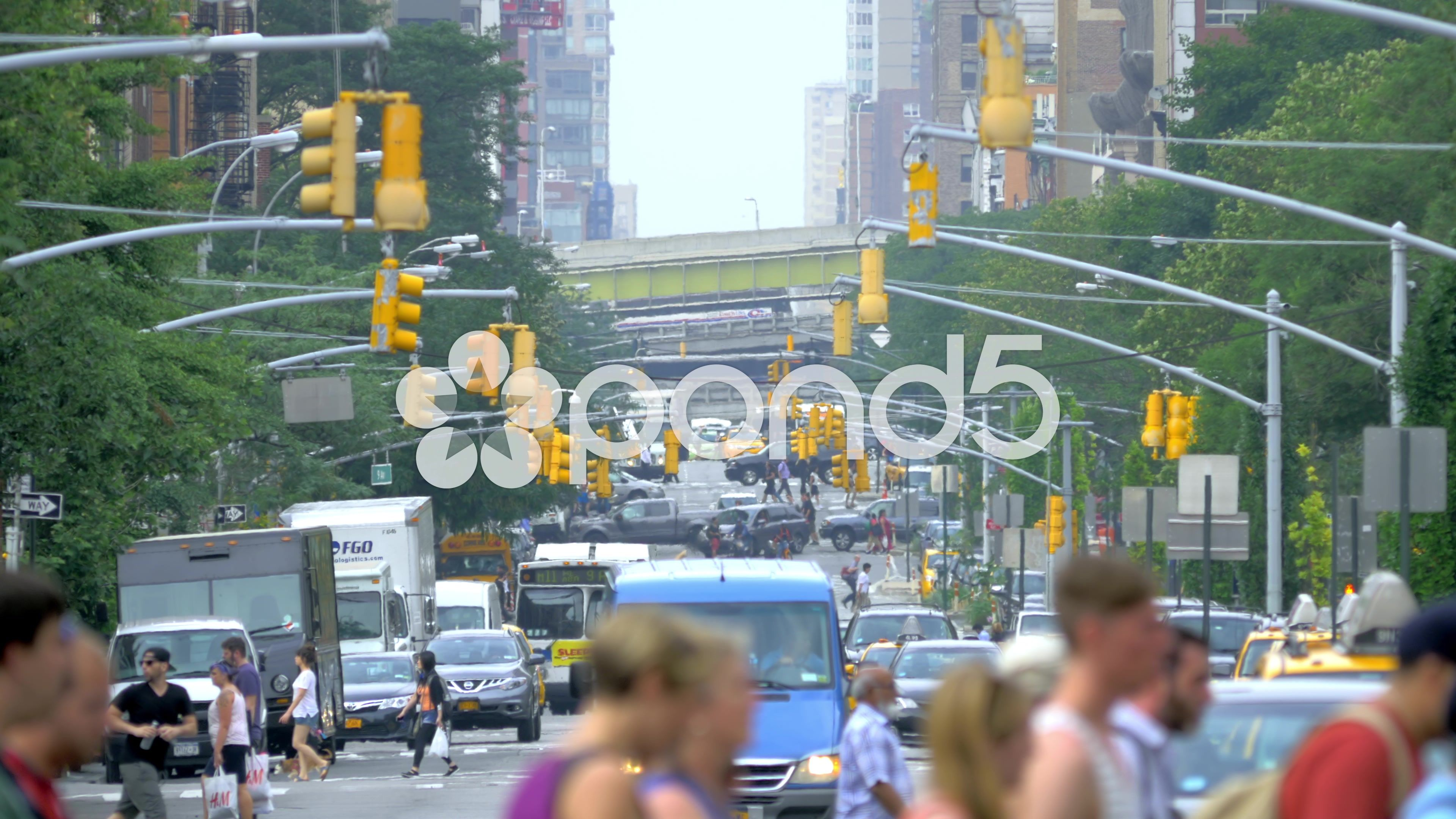 Busy Street Traffic New York City Nyc Cars Pedestrians People