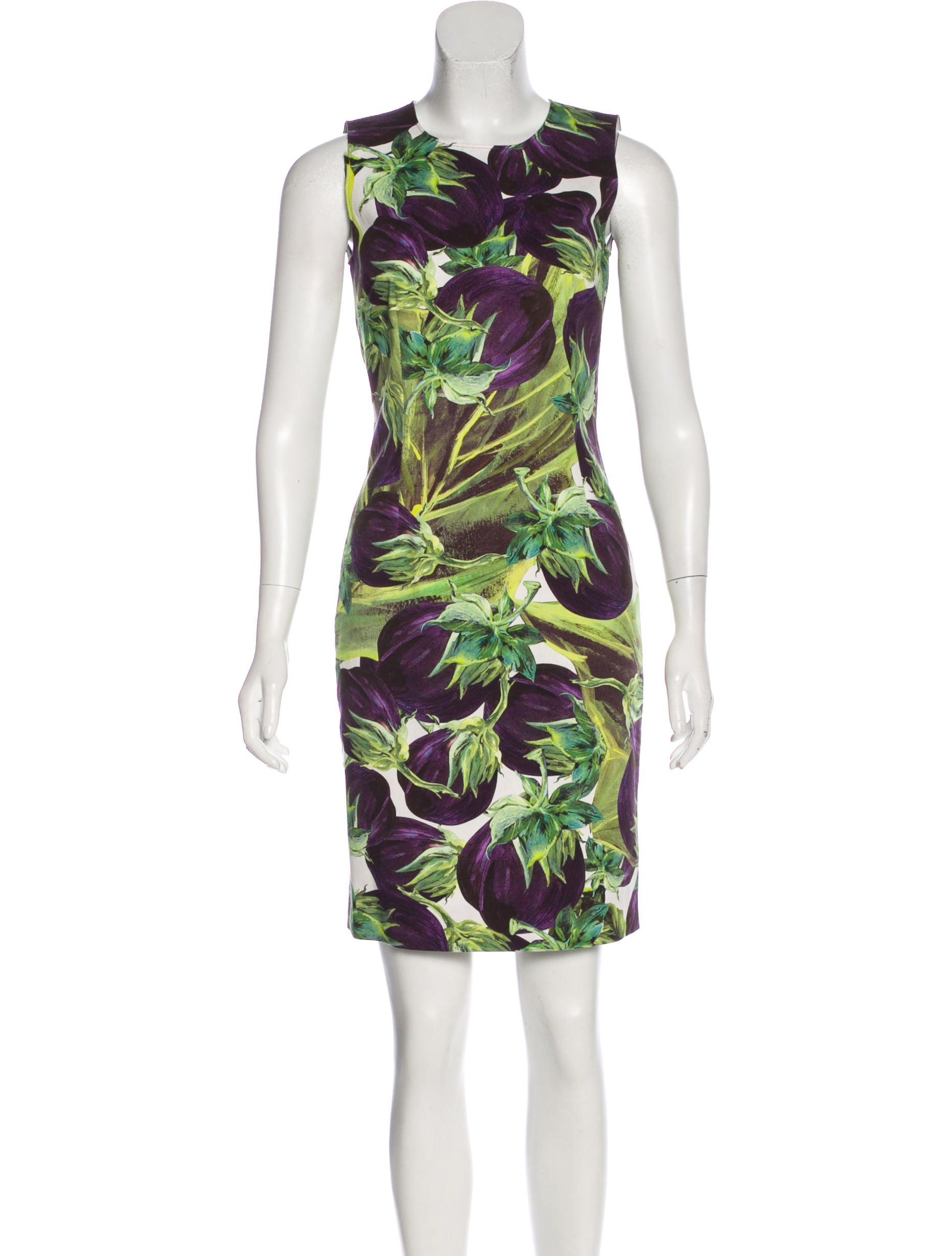4b9458c1 Aubergine and multicolor Dolce & Gabbana sleeveless mini dress with  eggplant print throughout, crew neckline and concealed zip closure at back.