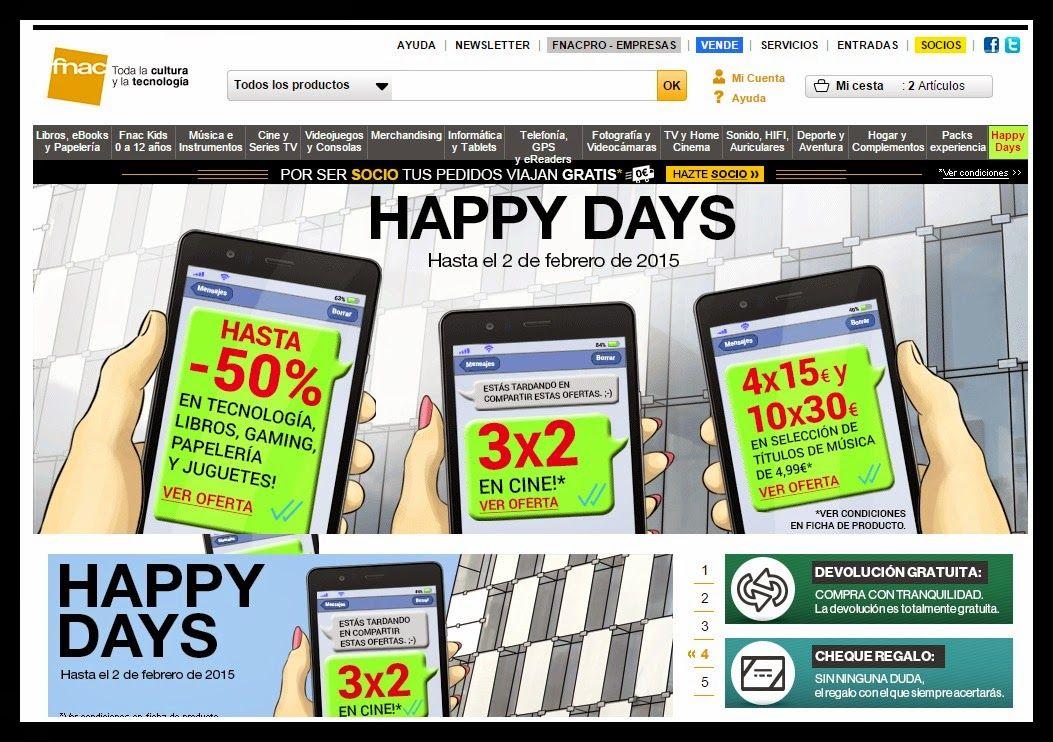 Happy Days en Fnac : 50% de descuento!! En la #Fnac no celebran las Rebajas si no los Happy Days hasta el 2 de Febrero del 2015, en ellos podemos encontrar descuentos de hasta el 50%!!