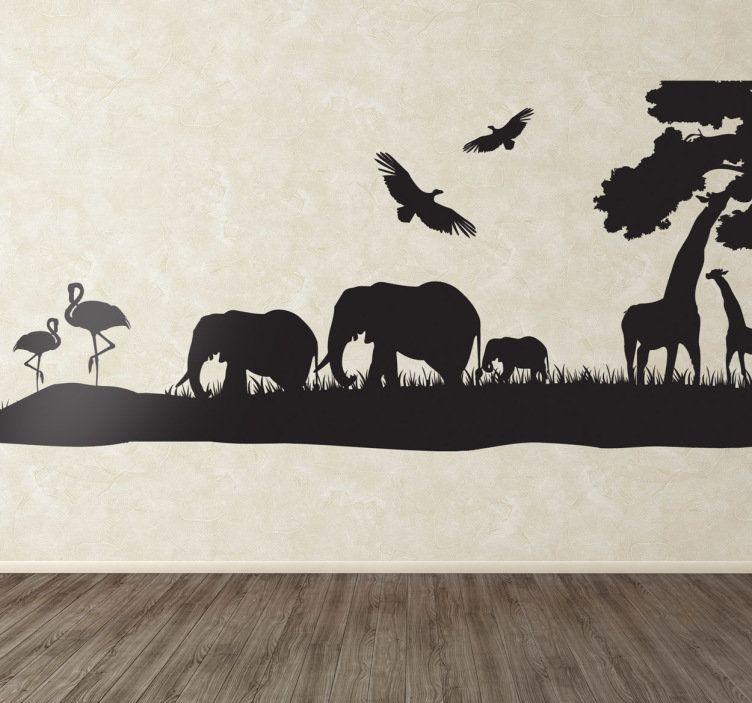 Savannah Silhouette Wall Sticker Animal Wall Decals Wall Paneling Diy Animal Silhouette