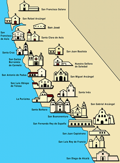 The California Missions Are A Series Of Settlements Running Up - California missions map