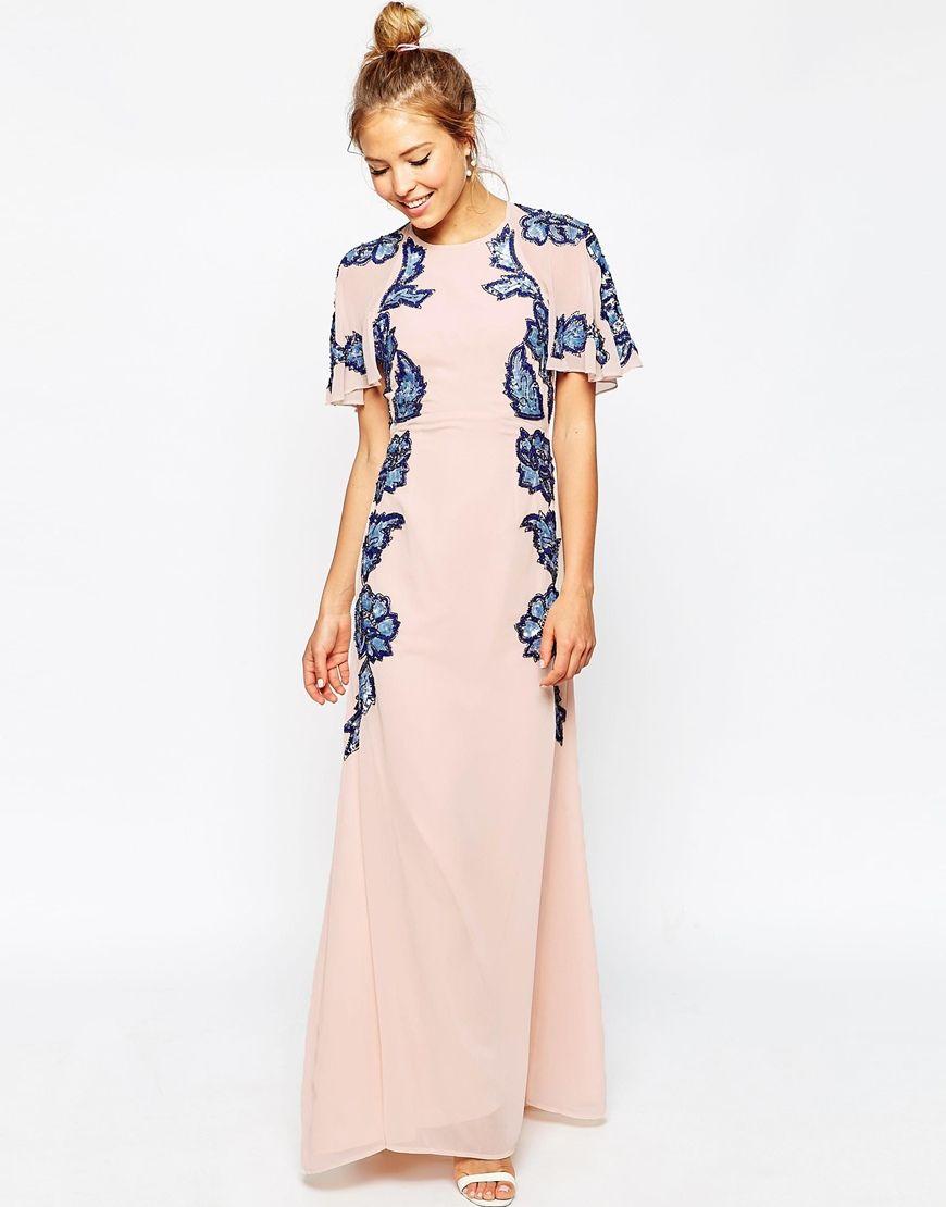 Image 1 of ASOS Floral Embellished Flutter Sleeve Maxi Dress ...