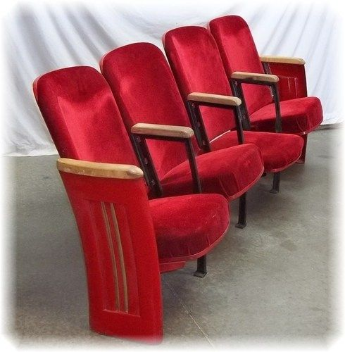 4 Red Velvet Movie Theater Seat Vintage Chair Art Deco