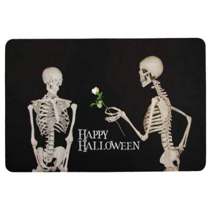 Skeletons Funny Romantic Happy Halloween Floor Mat - #Halloween - romantic halloween ideas
