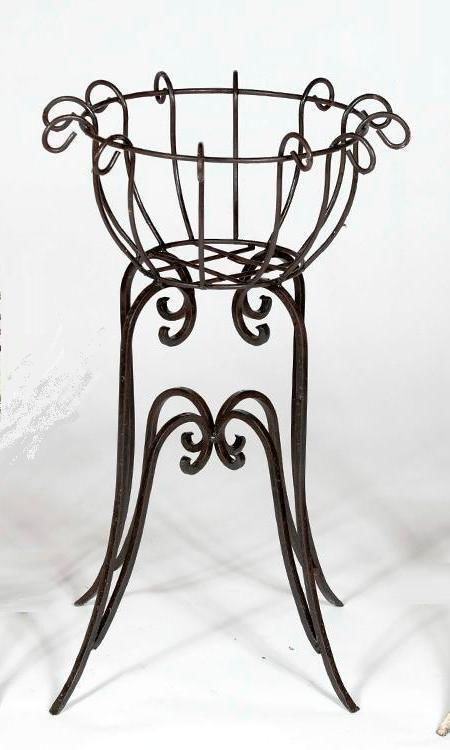 27 Tall X 17 Wrought Iron Round Heavy Plant Stand Medium Size Pot