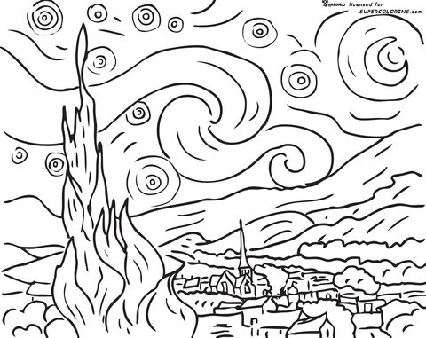 Starry Night By Vincent Van Gogh Coloring Page Here Is A Site With Tens Of Thousands Of Coloring Page Van Gogh Coloring Starry Night Van Gogh Van Gogh For Kids