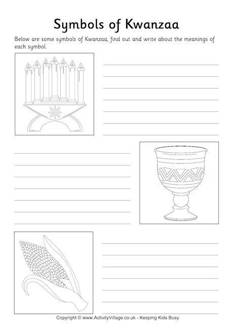 Symbols of Kwanzaa worksheet http://www.theeducationmonitor.com ...