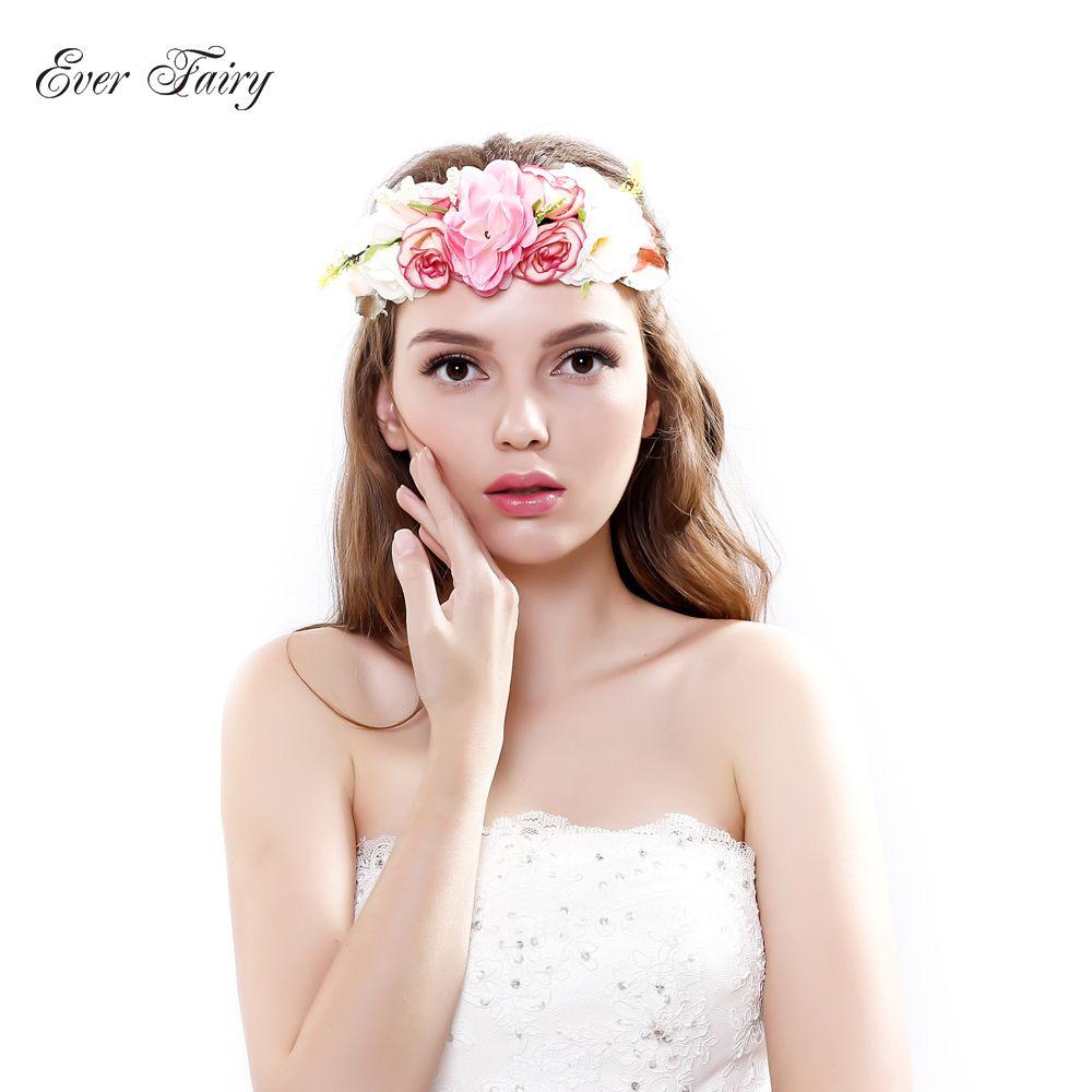 Immer Fairy Braut Blume Stirnband Hochzeit Rose Blume Kranz Floral