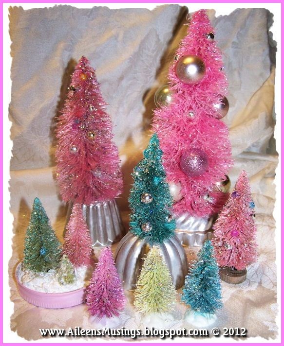 Aileen S Musings Bottle Brush Forest And Vintage Tart Tins Bottlebrush C Bottle Brush Christmas Trees Vintage Christmas Crafts Christmas Crafts Decorations