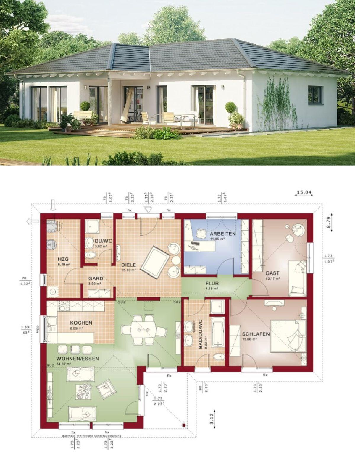 klassischer winkelbungalow mit walmdach architektur grundriss bungalow haus evolution 111 v3. Black Bedroom Furniture Sets. Home Design Ideas