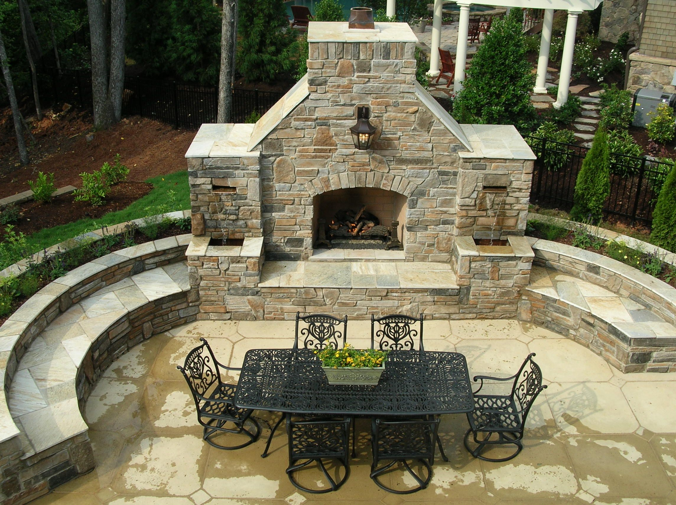 Fireplace with water feature isnt this amazing so