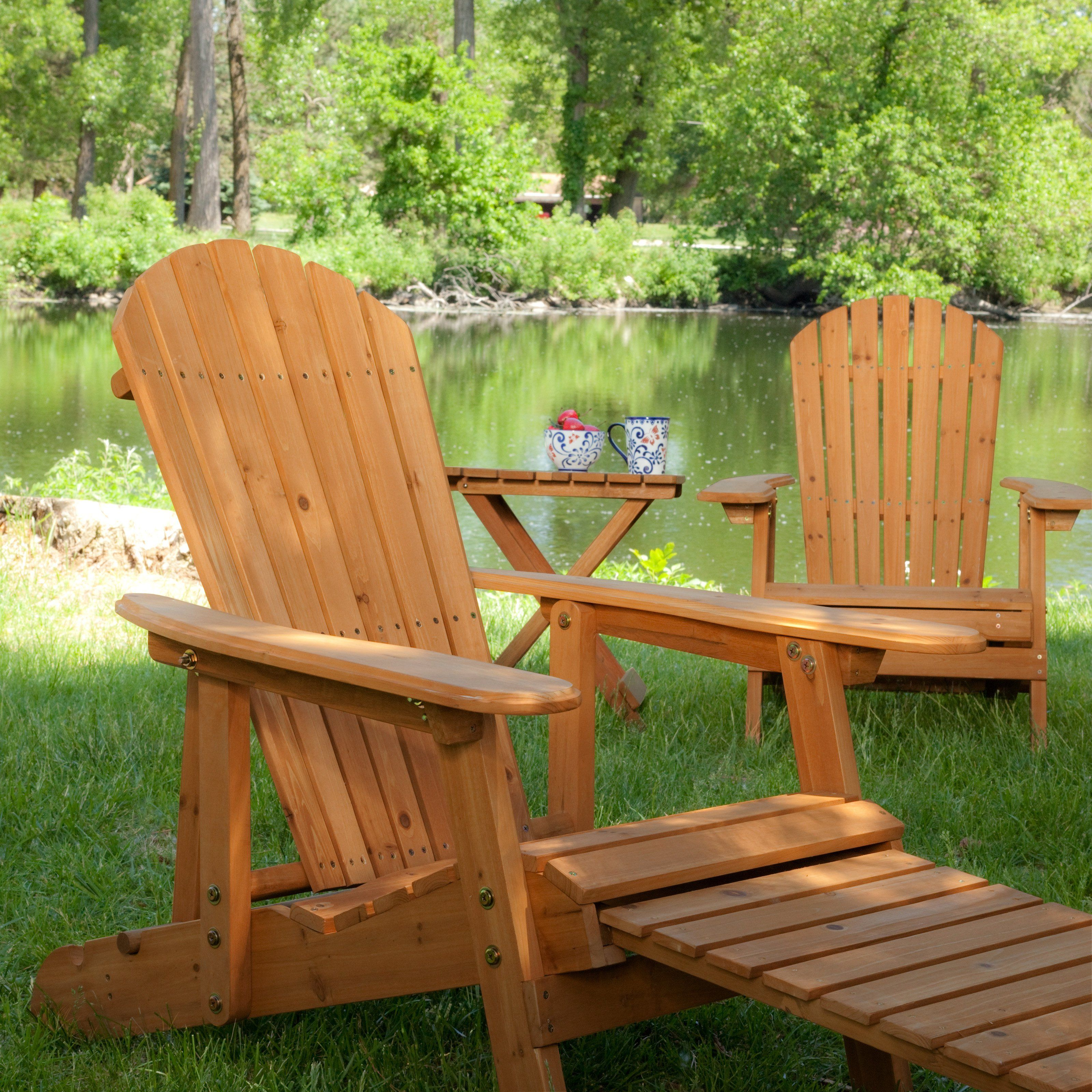 big daddy adirondack chair leather wingback recliner coral coast reclining set with free side table natural from hayneedle com