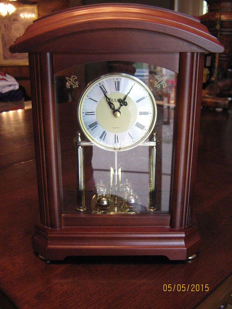 99 Bulova B1848 Nordale Mantle Clock With Revolving Pendulum Walnut Finish