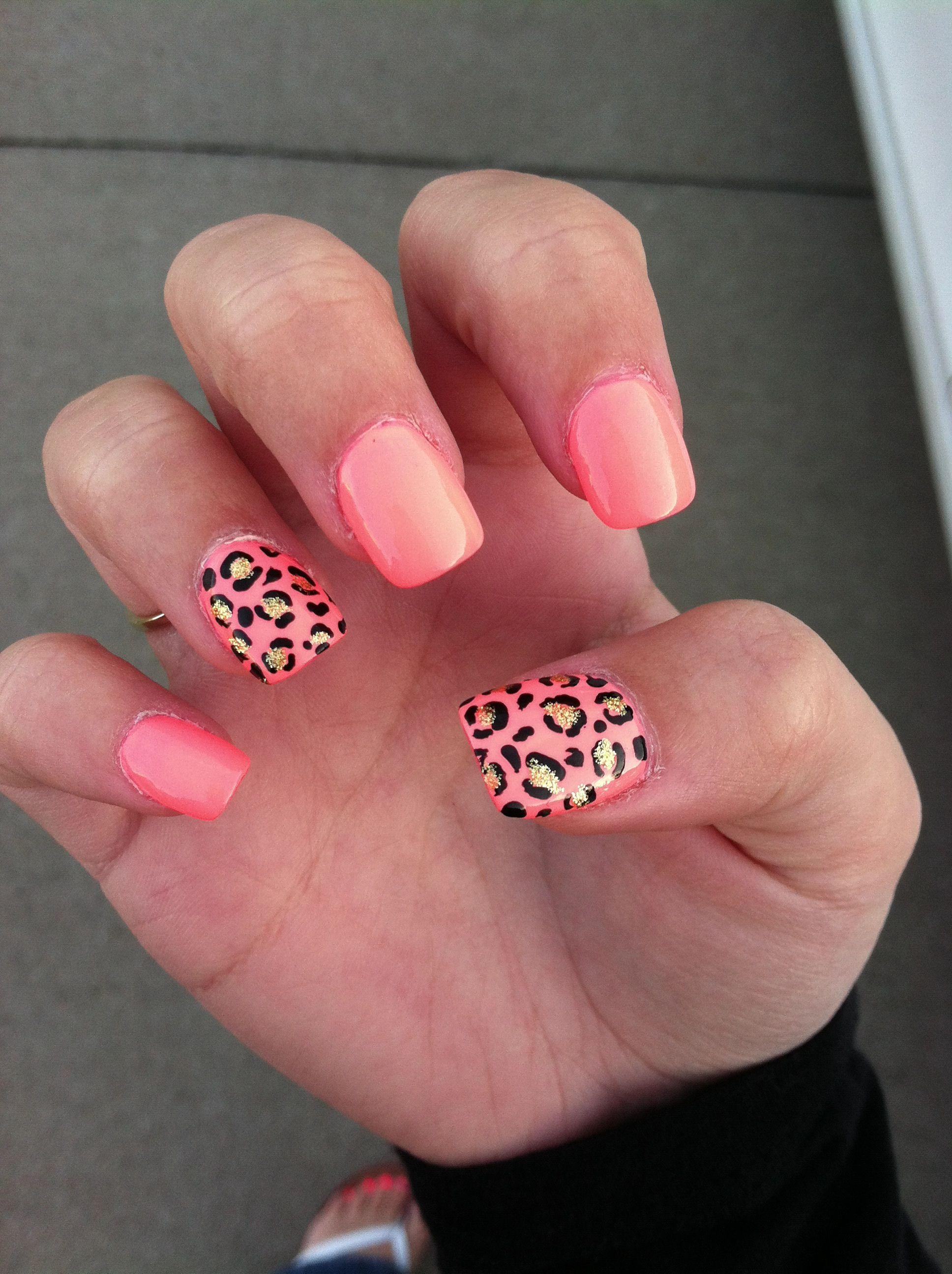 Nail Art Coral Nailart Cheetah Tattoos Nails Other Misc