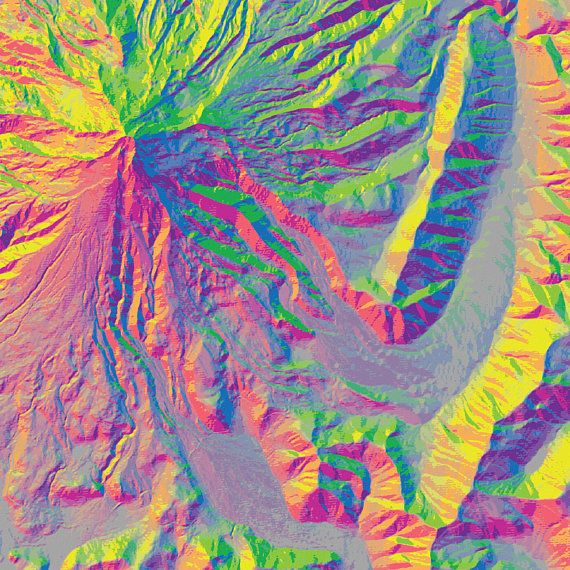 Mt Hood Oregon Map Elevation Map Topographic Map Map Art Map