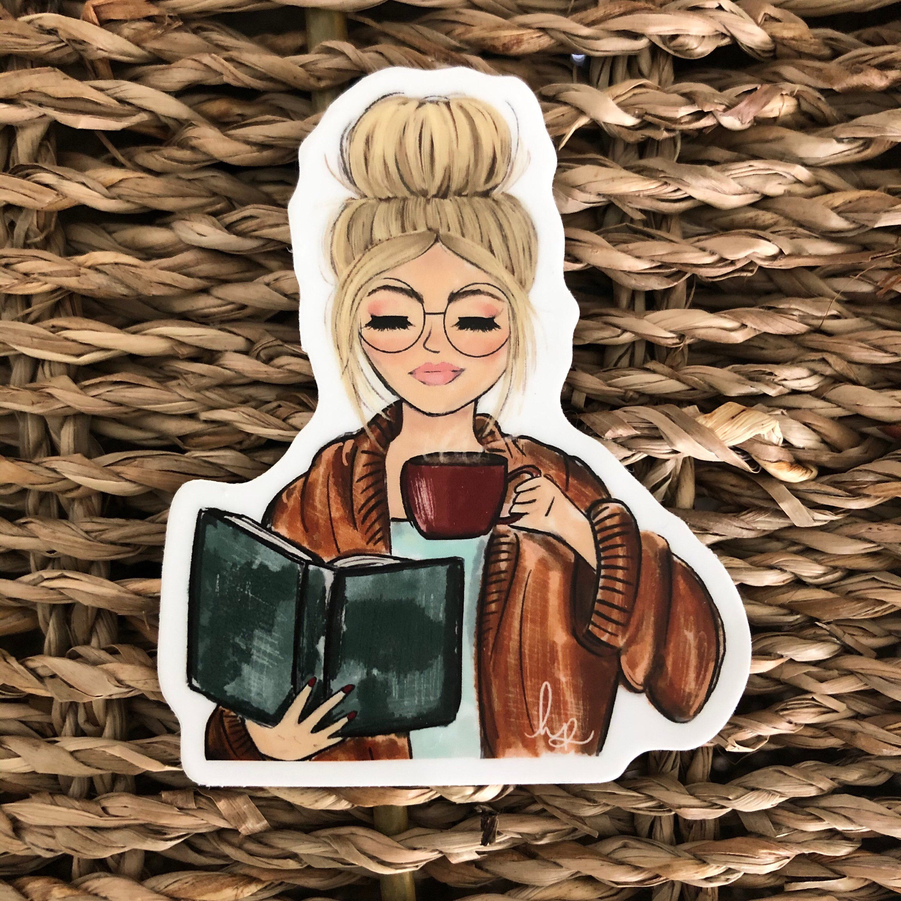 Photo of Cozy Blonde Girl with Book and Coffee Vinyl sticker Cute girl | Etsy