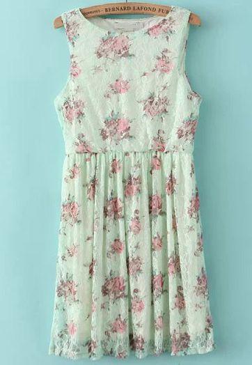 Vestido plisado floral encaje sin mangas-verde 13.18