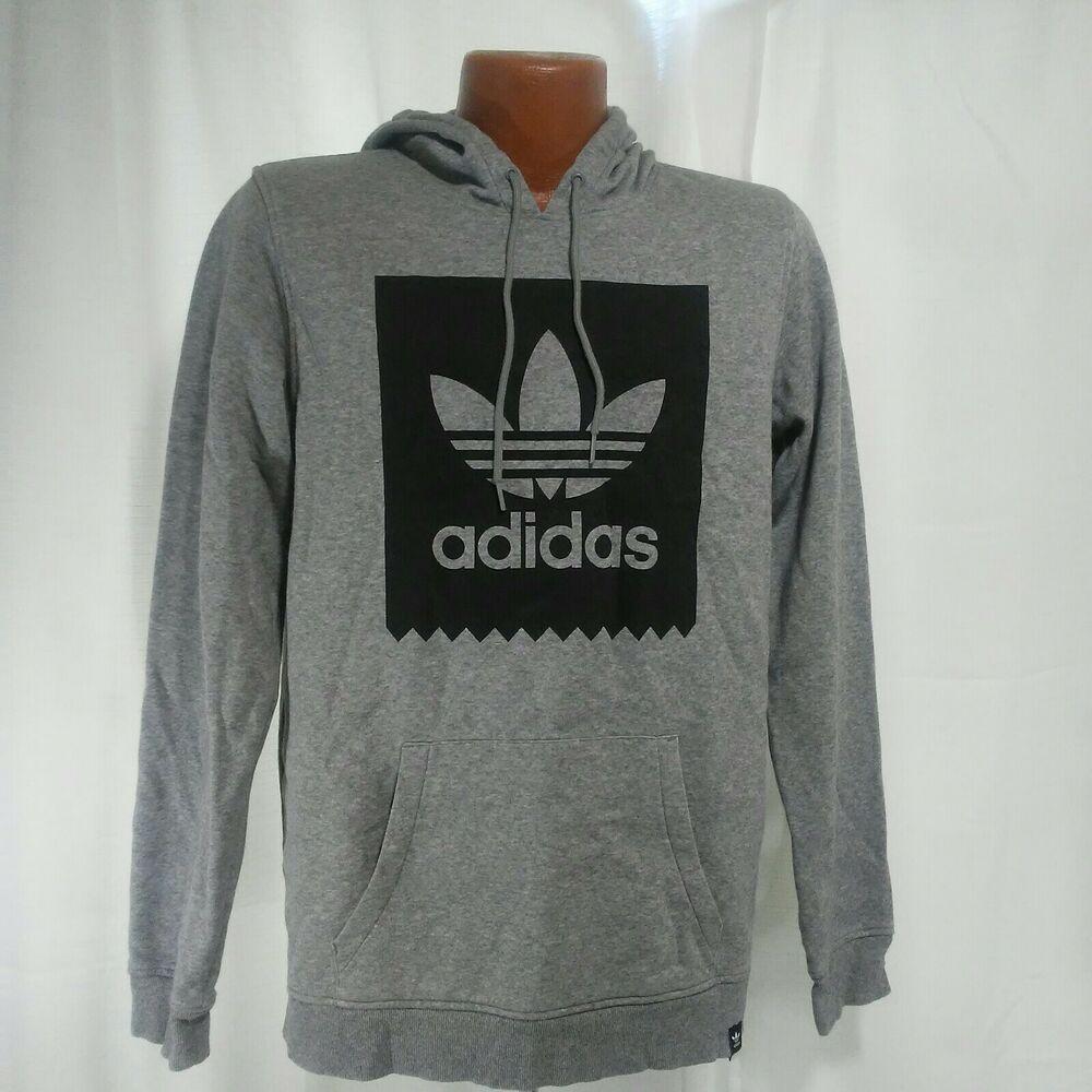 Adidas Mens Pullover Gray and Black Hoodie Retro Design