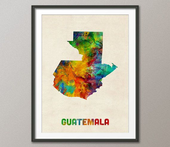 Guatemala Watercolor Map Art Print 1333