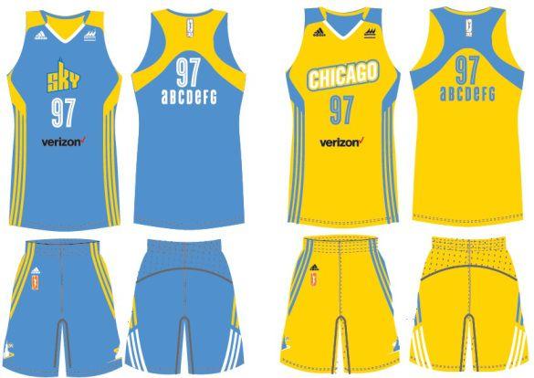 Detalle de las nuevas equipaciones de Chicago Sky Basquete 455cbc253b992