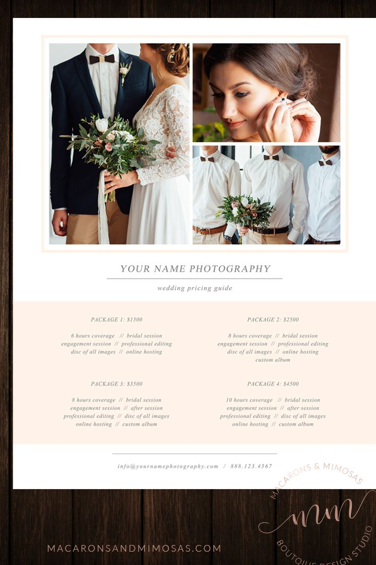 Photography Price List Template Sheet Photographer Customized Psd