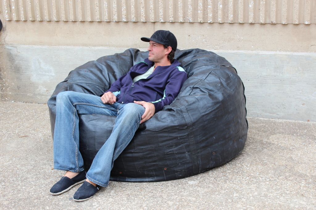 Large leather patchwork beanbag - enormous