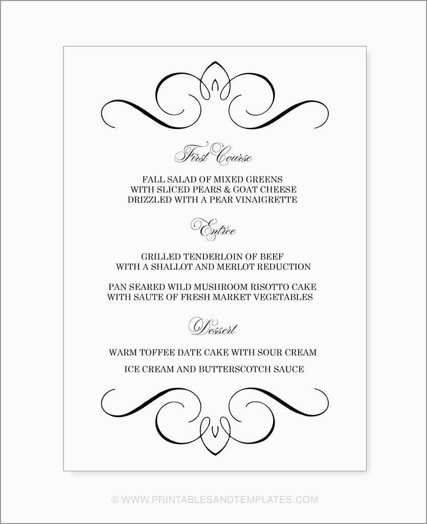 Fancy Menu Template Free Menu Card Template Printable Menu Cards Free Printable Menu Template