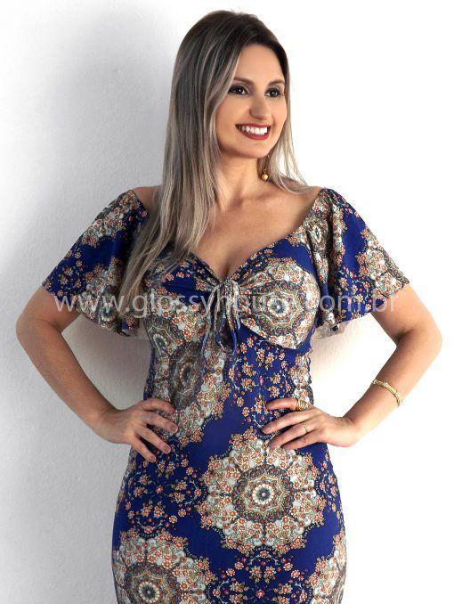 a3fdfbdb6 Vestido Longo Viscolycra Ciganinha - Azul (c bojo) - Glossy House | Cris  Azevedo. Composição: 92% Viscose 8% Elastano (malha viscolycra). – Possui  bojo.