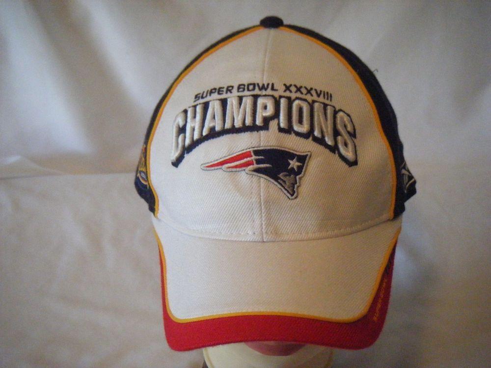 c15bb303 New England Patriots adult OSFA baseball hat cap Super Bowl XXXVIII ...