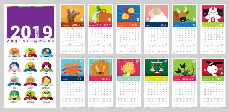 Calendario 2019 Do Vetor Dos Desenhos Animados Ilustracao Do Vetor