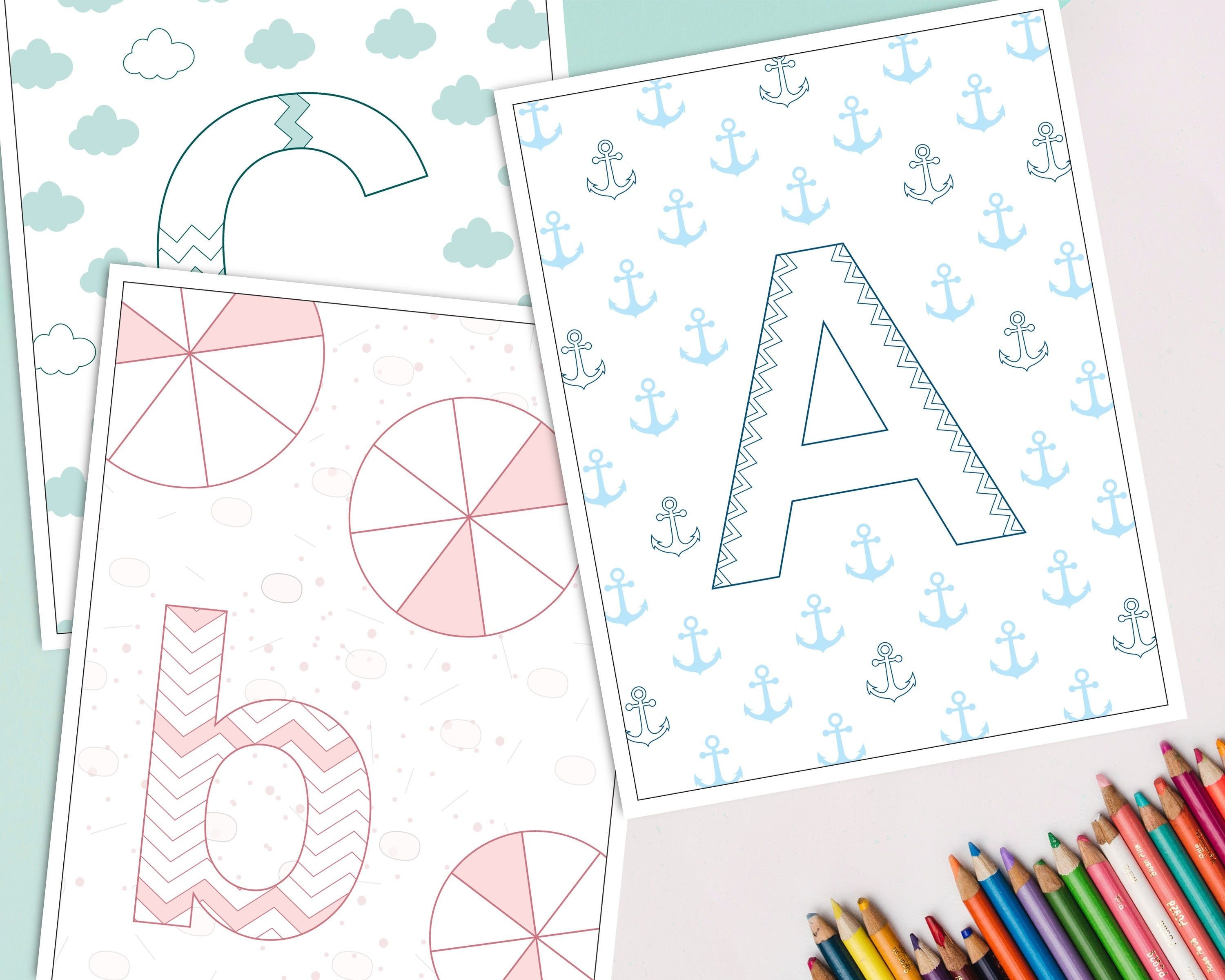 Printable Alphabet Coloring Book Baby S First Abc Book Etsy Coloring Books Alphabet Coloring Pages Fathers Day Coloring Page [ 2400 x 3000 Pixel ]